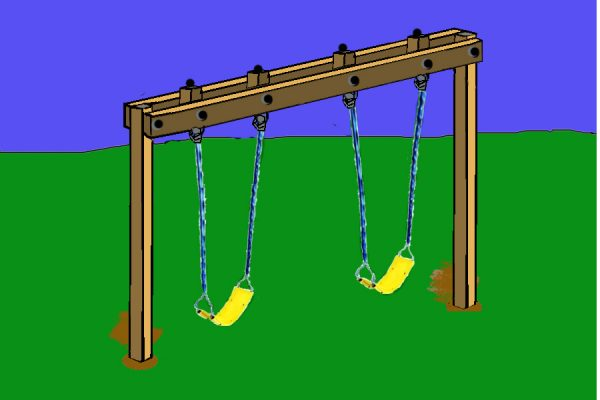 34 free diy swing set plans for your kids 39 fun backyard for How to build a frame swing structure