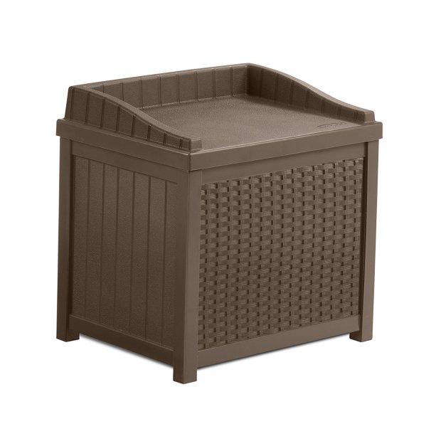 Suncast Mocha Resin Wicker Storage Seat