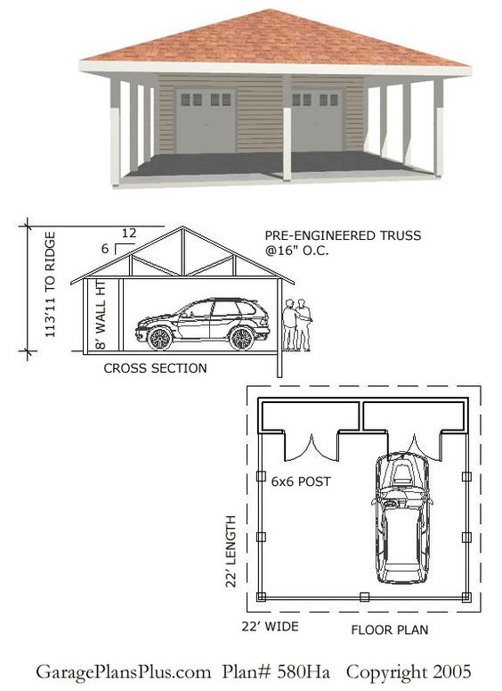 Delightful Carport Blueprints #6: These Carport Plans Look Like A Nice Addition To Any Home. It Has Room For  2 Vehicles And Also Has Additional Storage As Well.