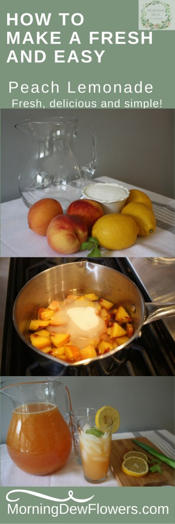How to make fresh peach lemonade sugar lemons peaches mint water