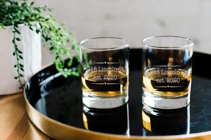 custom address and date whiskey glass set