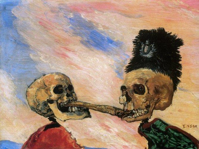 James Ensor, Squelettes se disputant un hareng saur, 1891