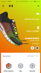 test chaussure under armour hovr infinite morning runner