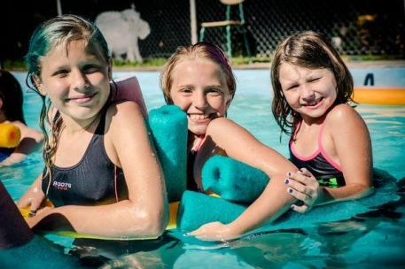 Girls camp group pool