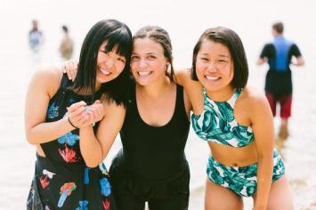 Teen girls beach happy