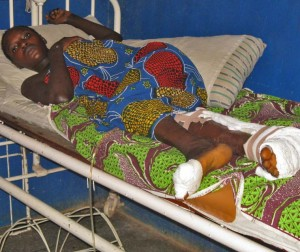 Regina Luka on her hospital bed after attack by suspected Islamic extremists in Plateau state. (Morning Star News photo)