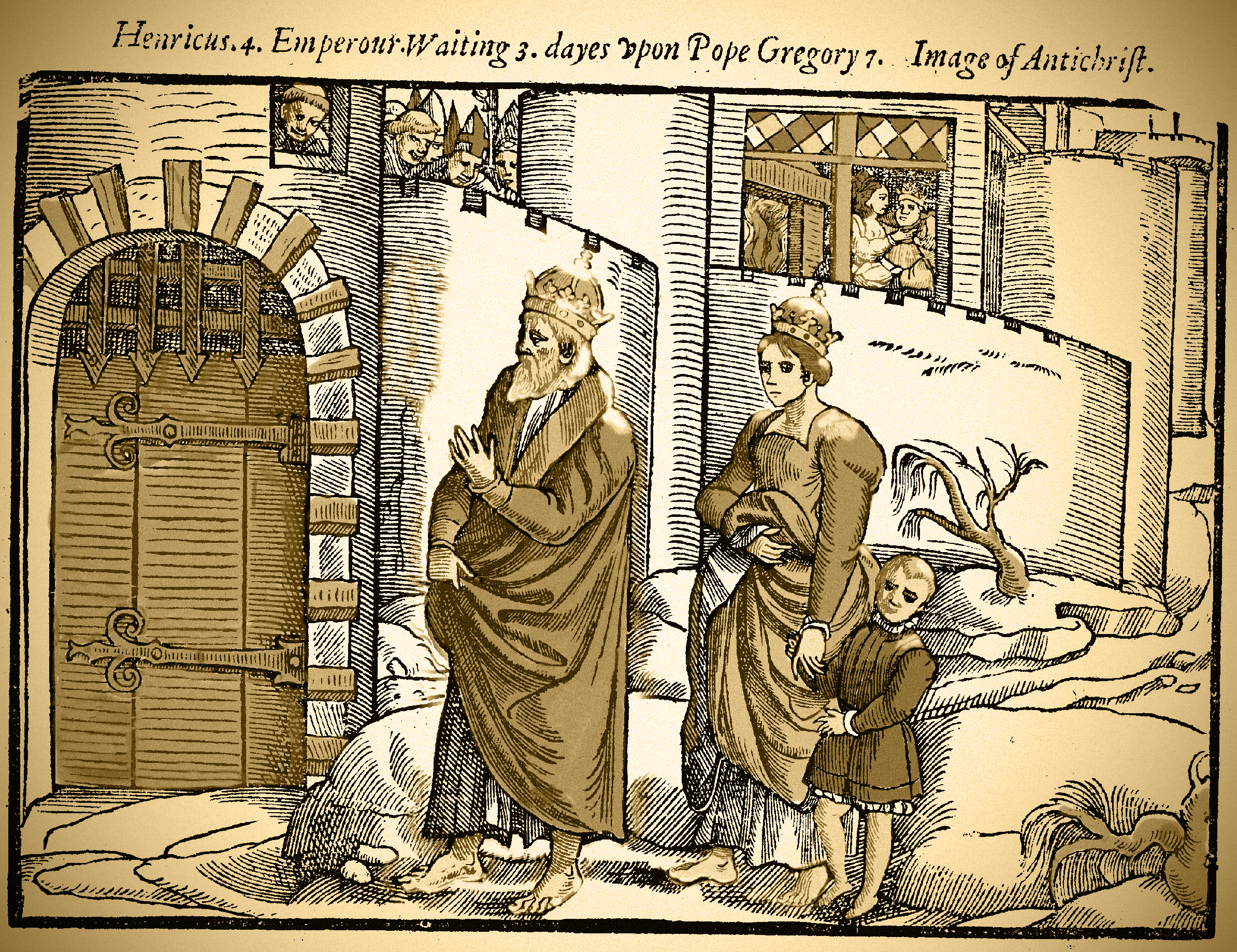 """Henry IV waiting outside the gates of Canossa Castle whilst ecclesiastical leaders jeer from inside the castle walls. Captions read """"Henricus 4 Emperour Waiting 3 dayes upon Pope Gregory 7. Image of Antichrist."""" Woodcut from Acts and Monuments (1570)"""