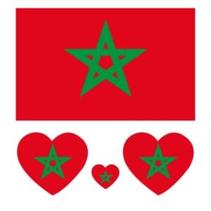 Een vel met de marokkaanse vlag en een vierkant en 3 hartjes