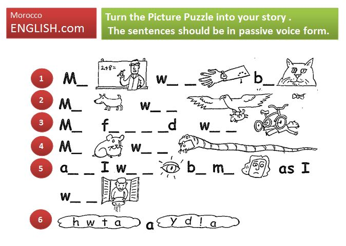Picture Puzzle Story Ppt Pdf Fun Activity To Enhance Usage Of Passive Voice Structures