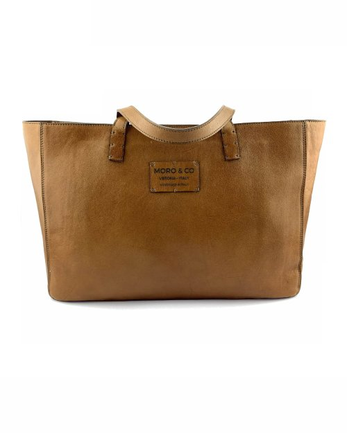 Moro & Co – Handmade in Italy – Borsa in pelle di vitello color cuoio