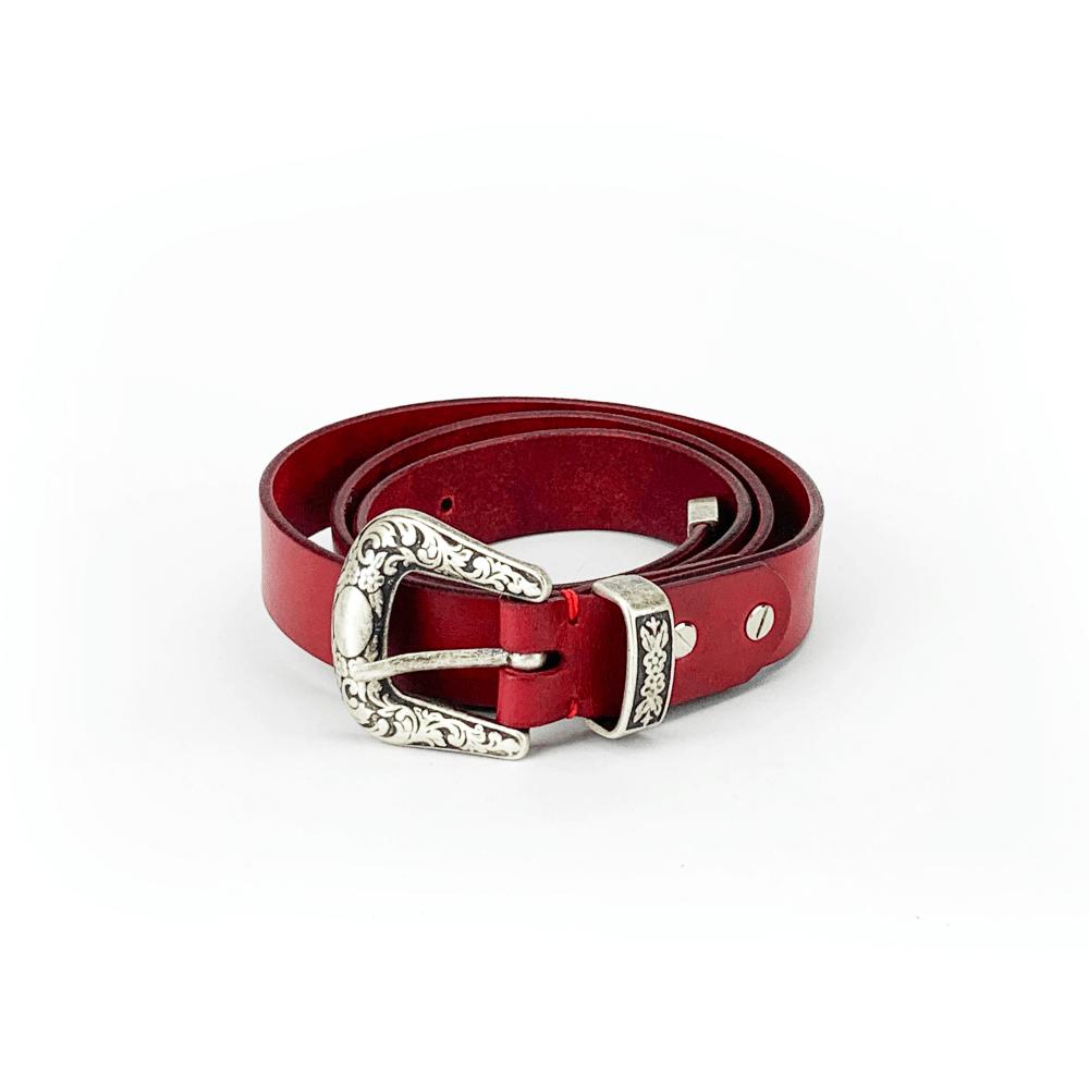 Cintura in cuoio tinta in capo e lavorata a mano rosso