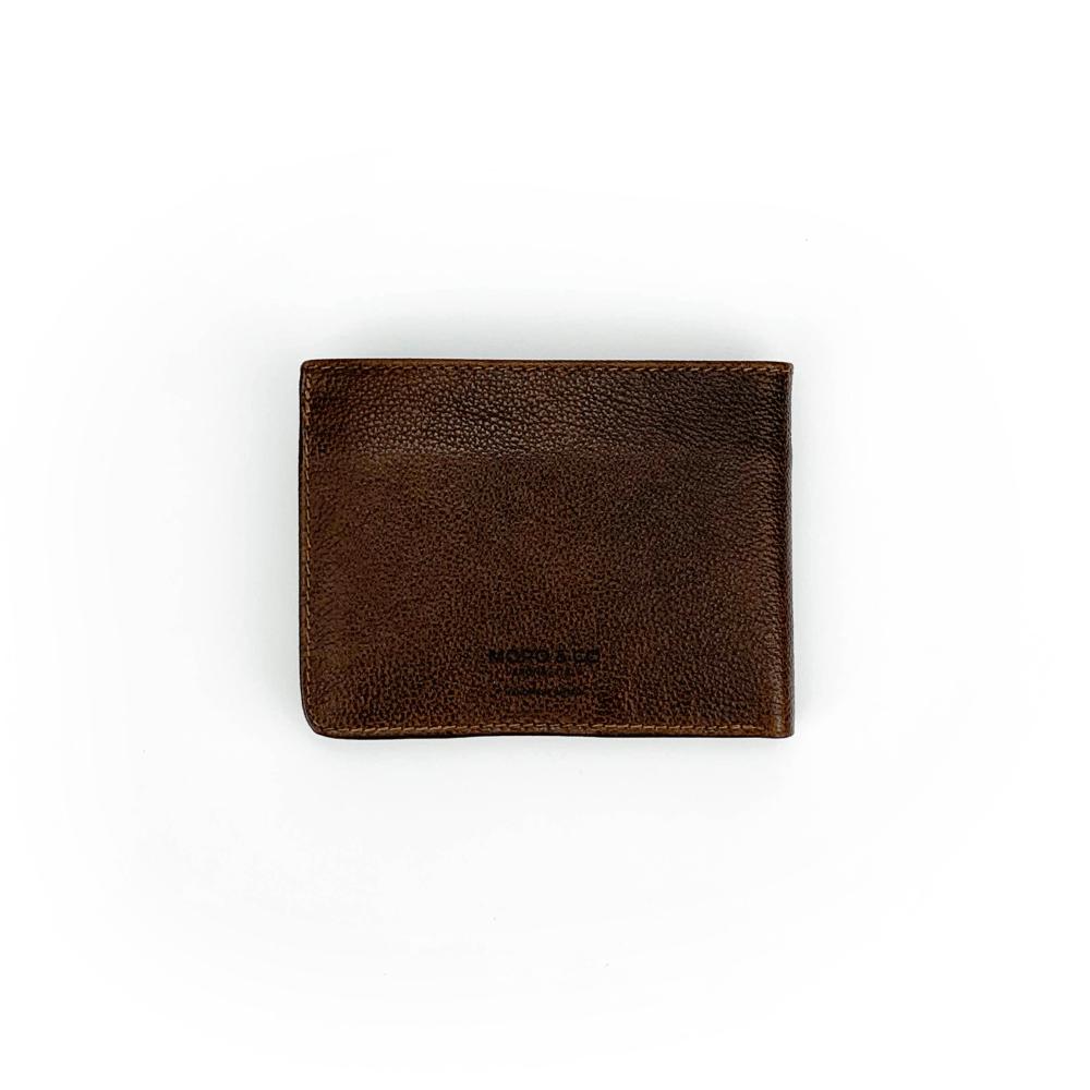 Portafoglio in vitello stampato lucido classico color testa di moro con pratiche tasche banconote, documenti, tessere e porta monete con automatico.