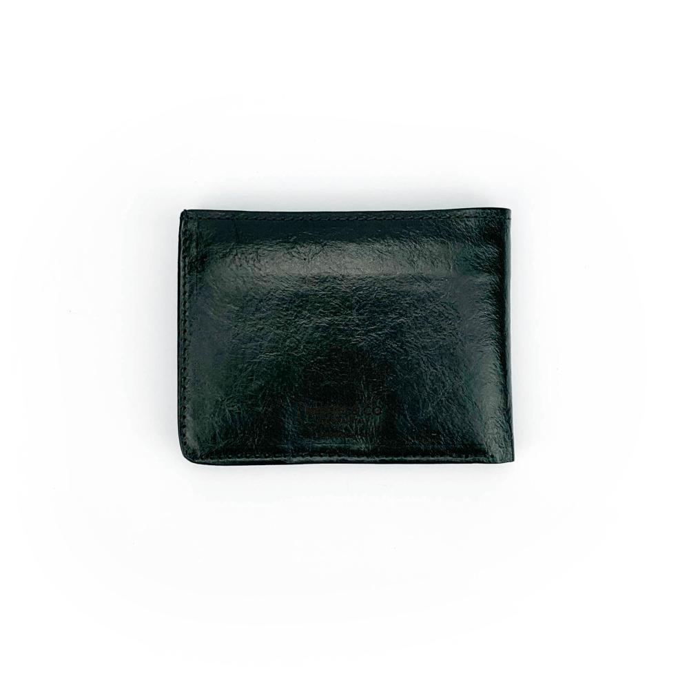 Portafoglio in vitello concia vegetale classico color nero con pratiche tasche banconote, documenti, tessere e porta monete con automatico.