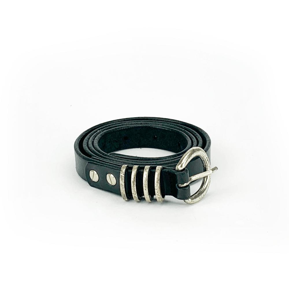 Cintura in cuoio lavorata a mano nero