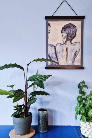 morogmor unik plakatkunst maleri minimalistisk maleri i blå grå toner