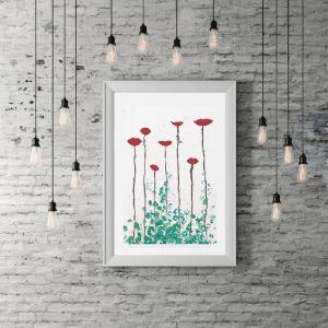 morogmor unik plakatkunst maleri Blomster natur minimalistisk