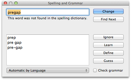 Textedit spelling panel