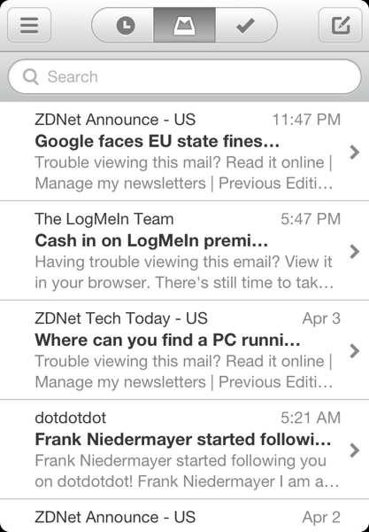 Mailbox main interface
