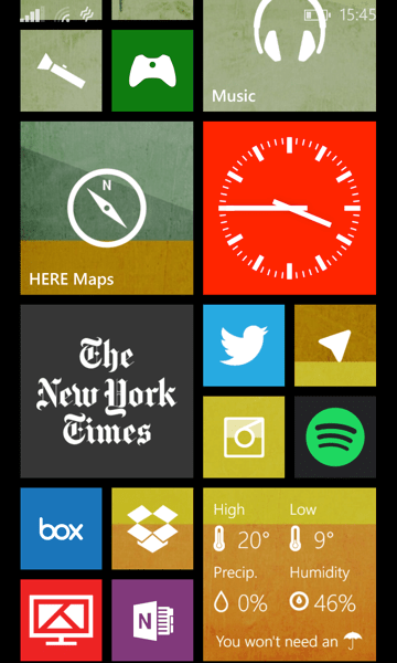My current Start screen (cont'd)