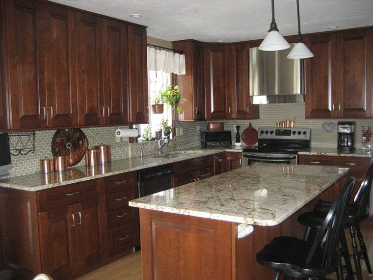 Kitchen Remodeling  Kitchen Design  Worcester  Central Massachusetts Kitchen Remodel   Dark Wood Cabinets