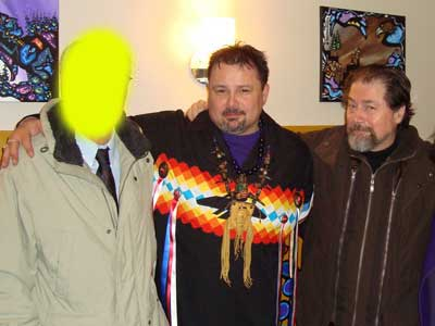 Principal Conspiracy Theorist, and his KRG Associate Director, in warm embrace with kingpin enforcer of the Conspiracy Theorists, Mark Anthony Jacobson. It is not known if this photo was made before he made the threatening phone call to Jessica Wilson, or after... Jacobson a very recent convert to the group ran the vilest website we've ever encountered on the Canadian internet, featuring ALL the worst words in the dictionary, and many which are not, targeted at people like Ugo Matulic, who spent thousands of dollars to have key paintings evaluated by Canada's top forensic scientists. Observers in the Canadian fine art community, just shake their heads, and wonder, how can a man like Robinson, who has long headed one of the leading art galleries in Canada, consort happily with the two most discredited website bloggers - Jacobson and Sinclair - in Canadian history? He has frequently hosted their posts on his KRG blog site and multiple times inside his gallery, where many say they get their orders, if not their pay cheques. PS - We stand corrected, Jacobson's website is the second vilest in Canadian history, edged out - just slightly - by that run by the Montreal dismemberment murderer. And just beating out that operated by Ritchie Sinclair.