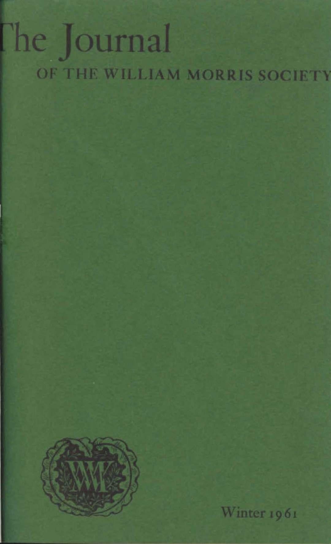 Journal of William Morris Studies Volume 1 Issue 1 cover.