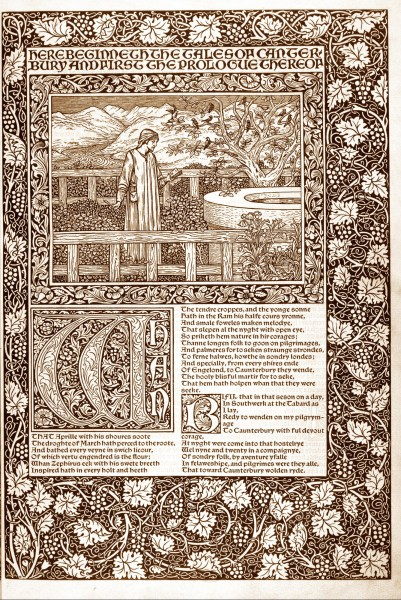 One of the opening pages of the Kelmscott Chaucer. An intricate border of vines surrounds an image and a block of text. The image is Chaucer reading in a garden. The text is the beginning of the prologue of the Canterbury Tales. It begins with a large decorative W.