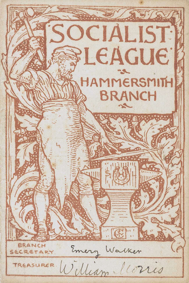 Socialist League Hammersmith Branch membership card. A bearded man works at an anvil in front of a leafy background.