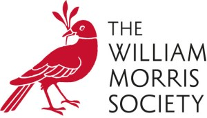 Logo of the William Morris Society UK, a red bird with a leaf in its mouth facing left and text 'The William Morris Society' to its right.