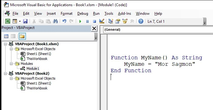 User-Defined Function in Excel