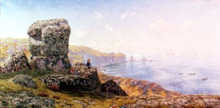 CMN95623 Golden Prospects, St. Catherine's Well, Land's End, Cornwall, 1881 (oil on canvas) by Brett, John (1831-1902) oil on canvas 106.7x214 Nottingham City Museums and Galleries (Nottingham Castle) English, out of copyright