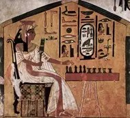 Ancient Egyptian drawing depicting player playing board game
