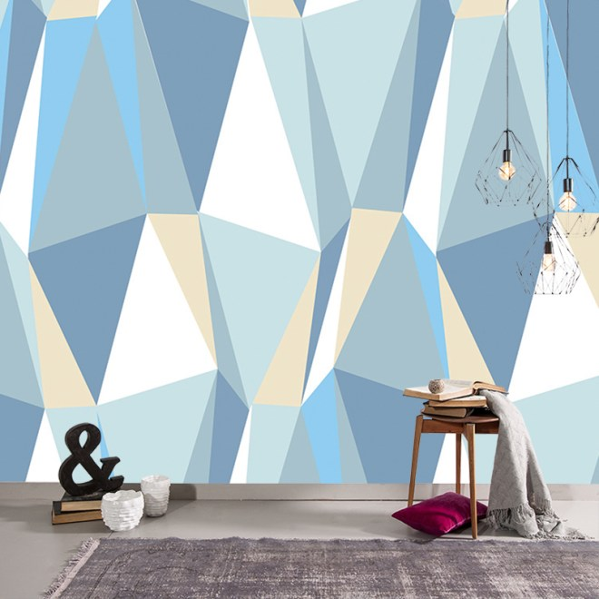 Iceberg made to measure wallpaper mural- bold 2017 geometric design for maximum impact and drama available in th UK at forthefloorandmore.com