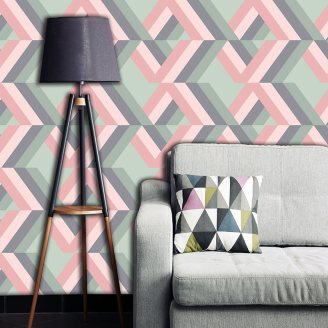 Grafyx Pink made to measure wallpaper mural- bold 2017 geometric design for maximum impact and drama available in th UK at forthefloorandmore.com
