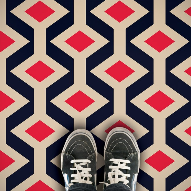 Fenchurch patterned geometric vinyl flooring exlusively from forthefloorandmore.com