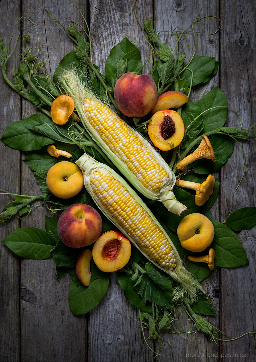 Peaches, Corn and Chanterelle Mushrooms: mortar-and-pestle.ca