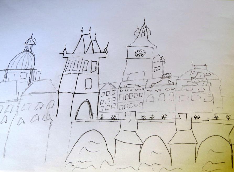 Sketch, Karlsbrücke, Prag