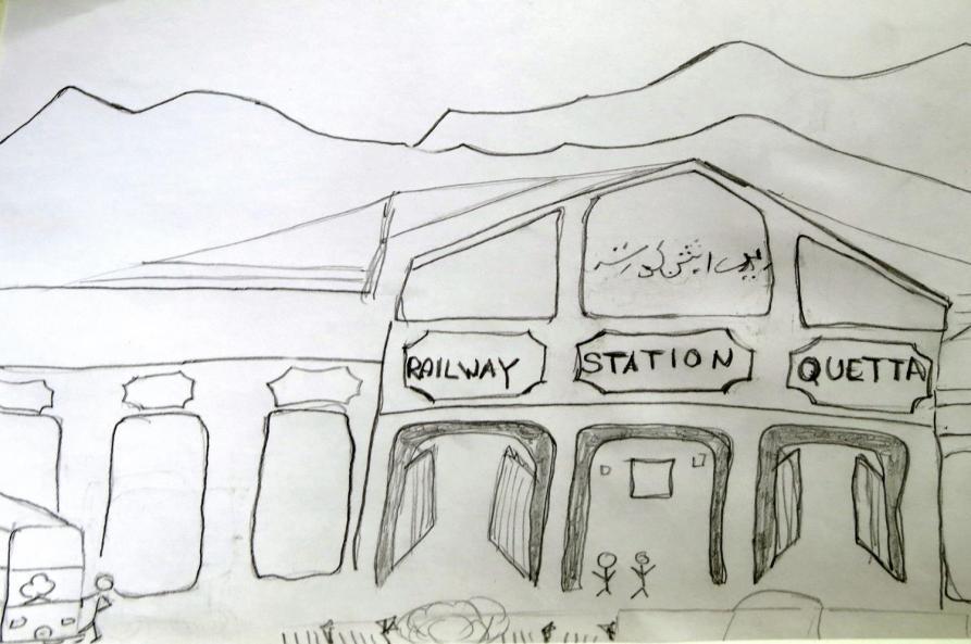sketch, Bahnhof Quetta