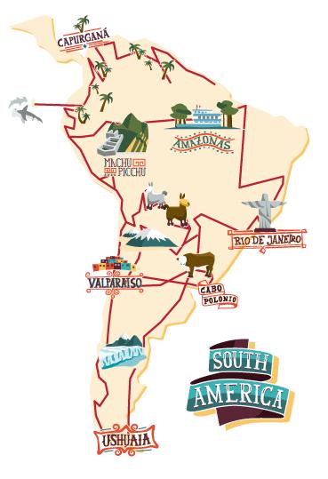 Karte Südamerika