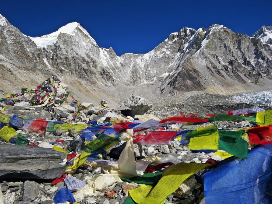 Gebetsfahren, Basislager Mount Everest, Himalaja