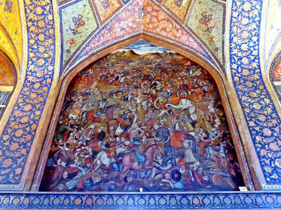 episches Wandgemälde im Tschehel Sotun, Isfahan, Iran