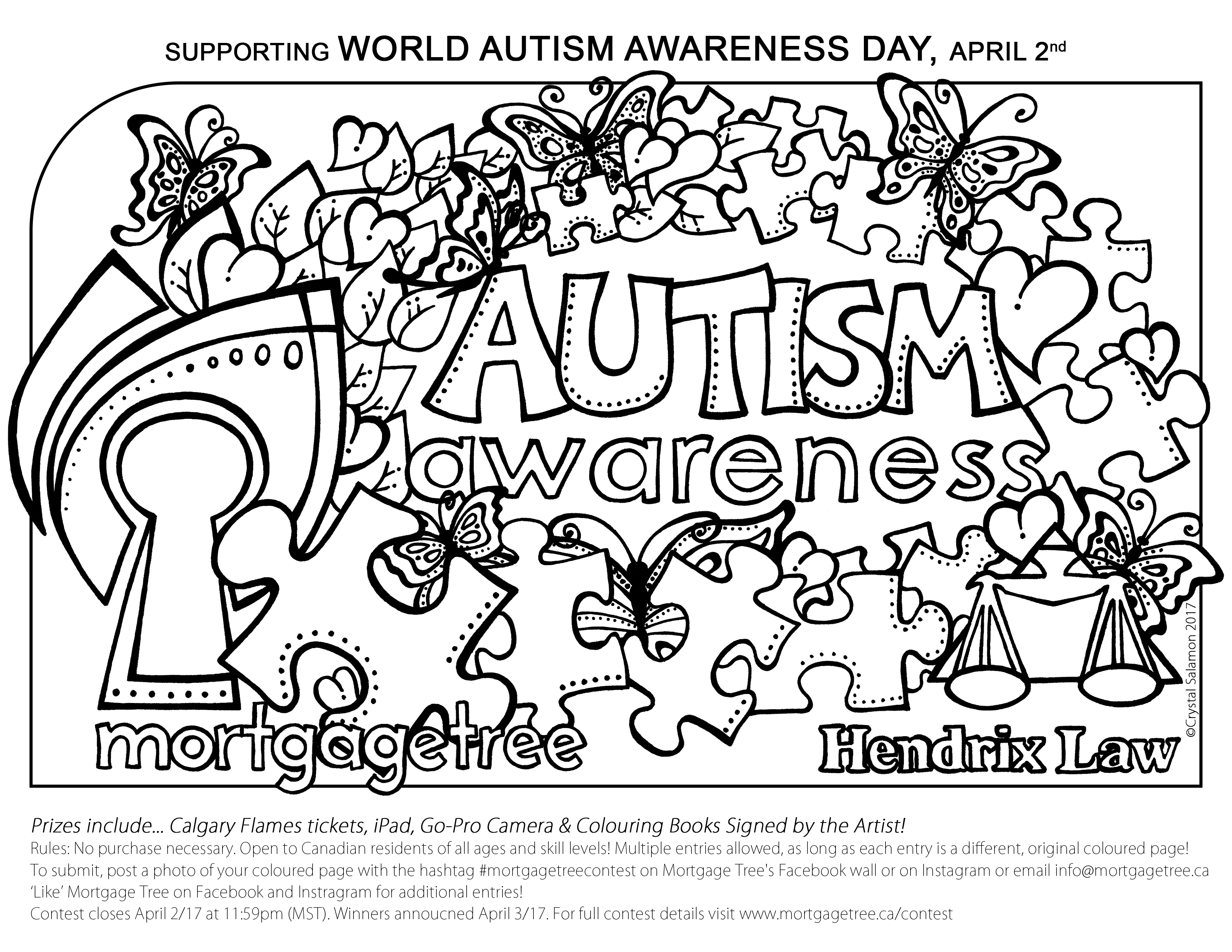 Mortgage Tree And Hendrix Law Autism Awareness Colouring