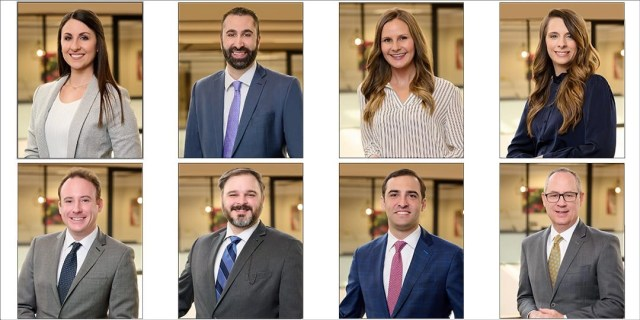 professional headshots of a financial services team at their offices