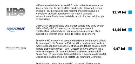 Extraoptiuni RCS RDS Digi TV
