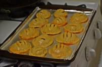Turnovers on a baking sheet