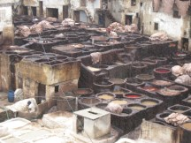 Dying leather at the tannery