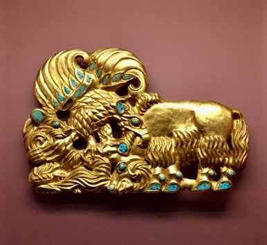 Belt buckle, Gold & turquoise - 4th-3rd c. BC