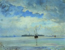 Ioannis Altamouras Off the harbour 1874 Oil on paper mounted on cardboard Bank of Greece Art Collection