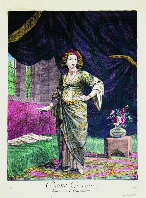 Greek woman in her apartments. 1714
