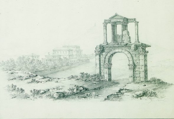 Hadrian's Gate. Drawing in pencil by Franz Tarone
